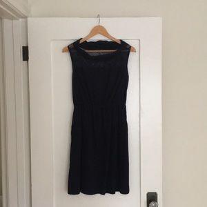 Navy Boatneck 100% Cotton Dress